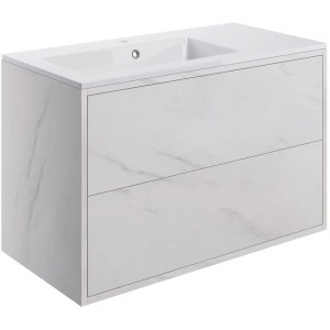 Bathrooms To Love Perla 900mm 2 Drawer Wall Unit & Basin Marble