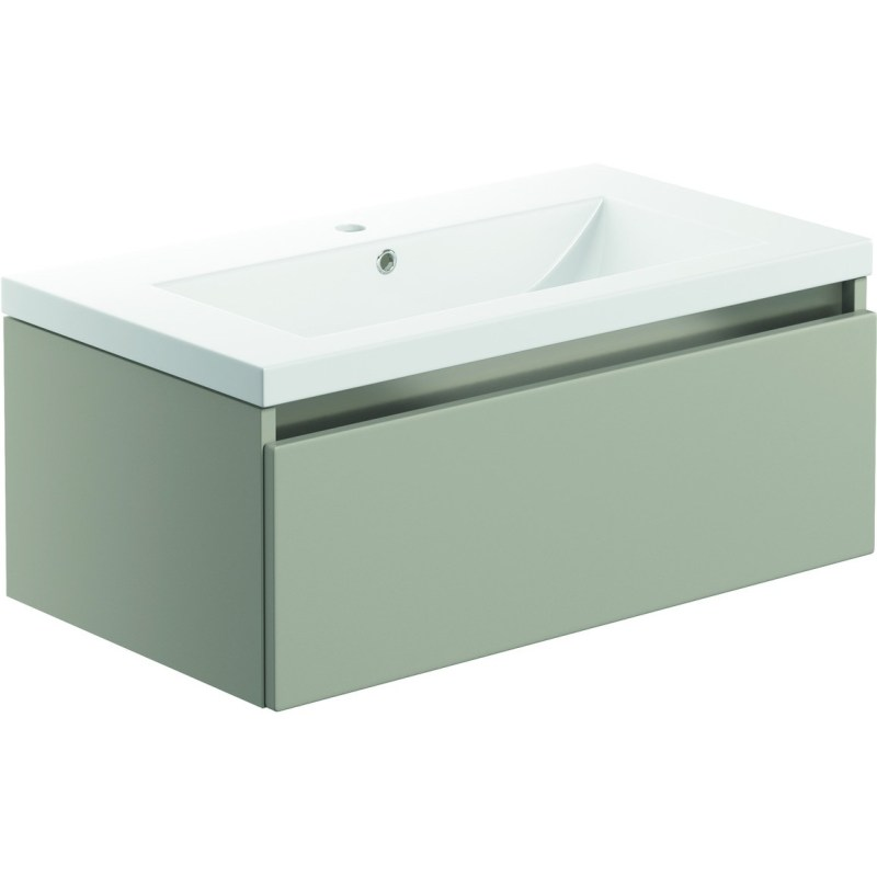 Bathrooms To Love Carino 800mm 1 Drawer Wall Unit & Basin Latte