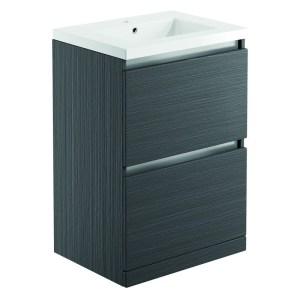 Bathrooms To Love Carino 600mm Floor Unit & Basin Graphitewood