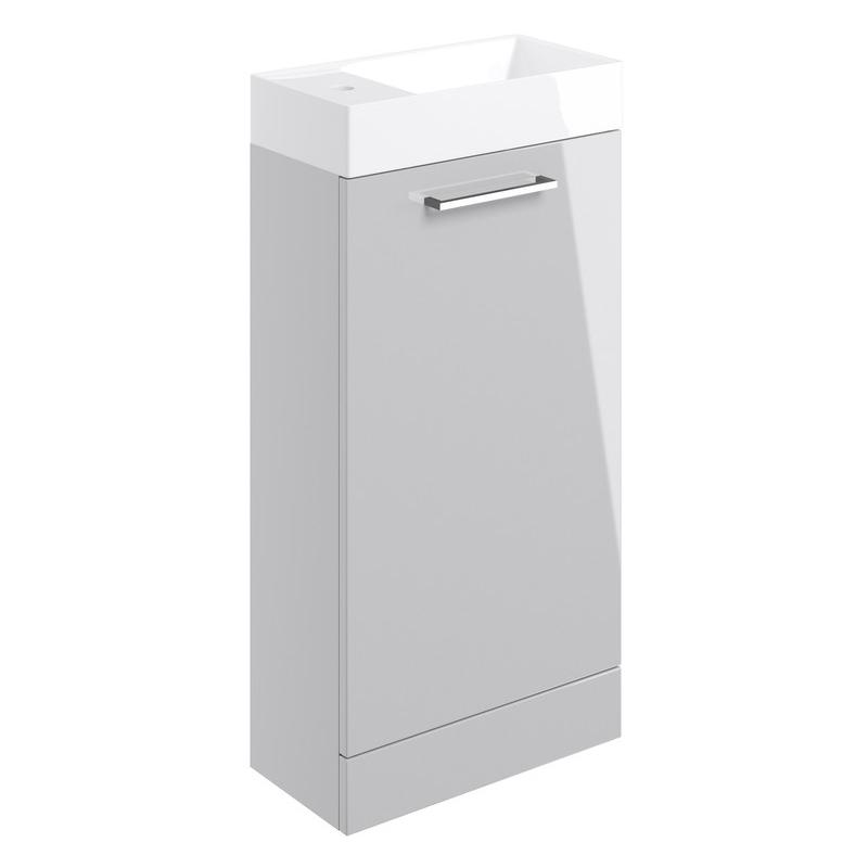Bathrooms To Love Volta 410mm Floor Unit & Basin Grey Gloss