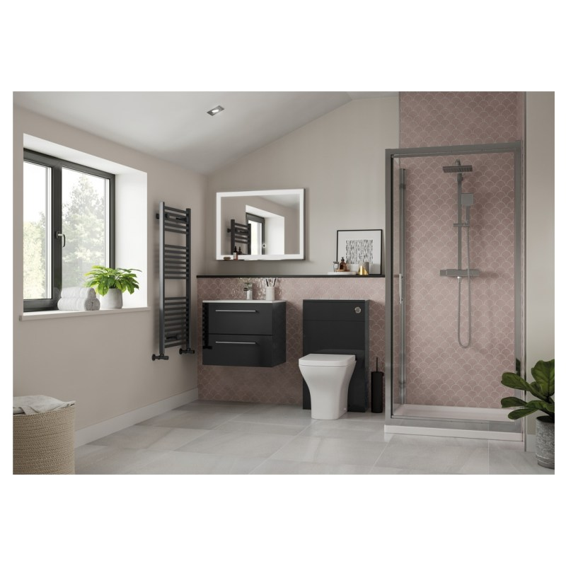 Bathrooms To Love Volta 510mm Wall Unit & Basin Anthracite Gloss