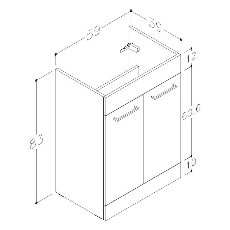 Bathrooms To Love Venosa 1100mm Floorstanding RH L-Shape Pack White