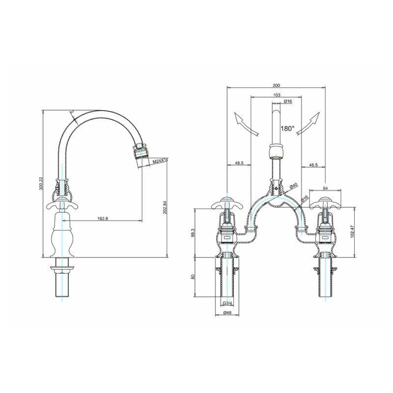 Burlington Anglesey Arch Basin Mixer, Curved Spout, 200mm Centres