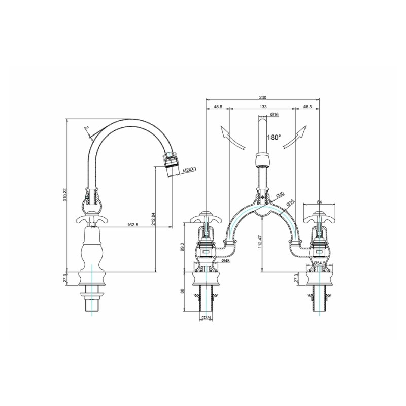 Burlington Anglesey Regent Arch Mixer, Curved Spout, 230mm Centres