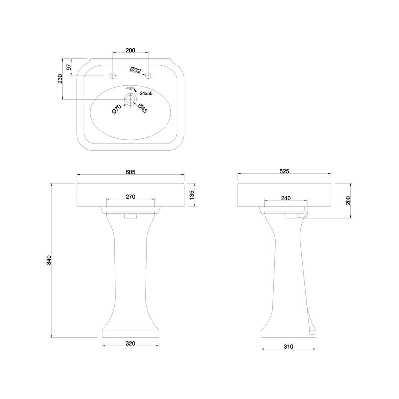 Burlington Arcade 600mm 2 Hole Basin & Pedestal