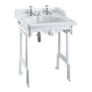 Burlington Classic 65cm 2 Hole Basin & White Aluminium Stand