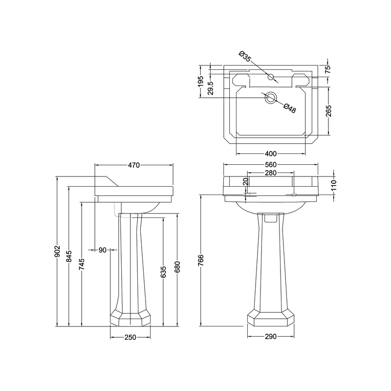 Burlington Edwardian 56cm 1 Hole Basin & Standard Pedestal