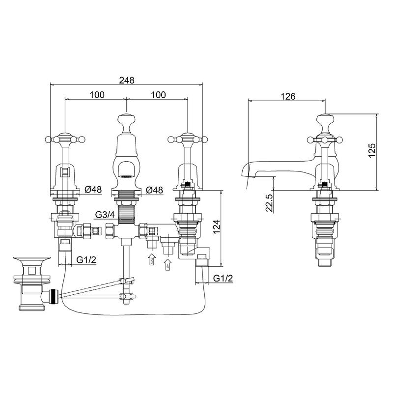 Burlington Birkenhead 3 Hole Thermostatic Mixer with Waste Black