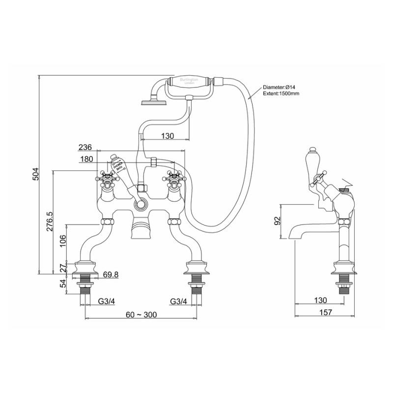 Burlington Birkenhead Regent Angled Deck Bath Shower Mixer