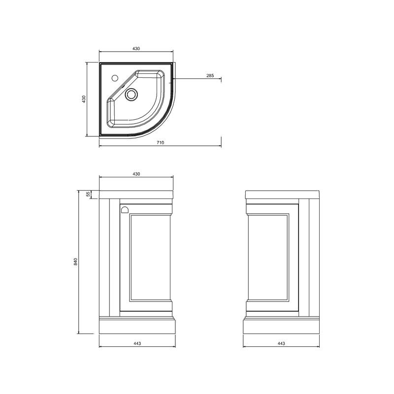 Burlington Freestanding 43cm Grey Corner Vanity Unit & Basin