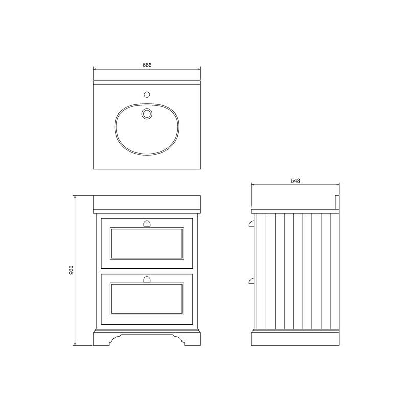 Burlington 65cm 2 Drawer Unit with Carrara White Worktop & Basin
