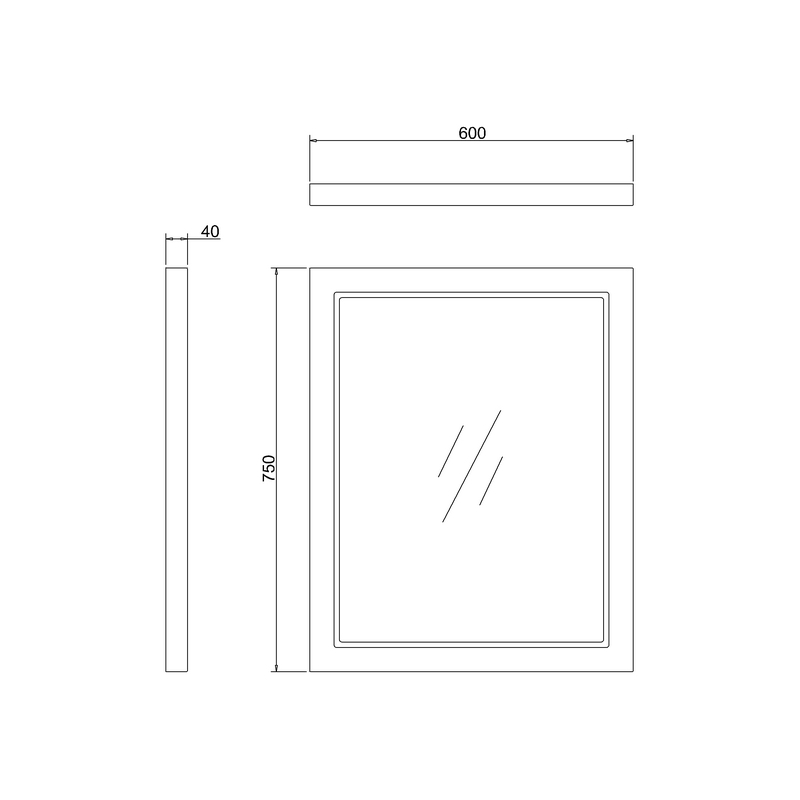 Burlington Framed 60cm Mirror Classic Grey
