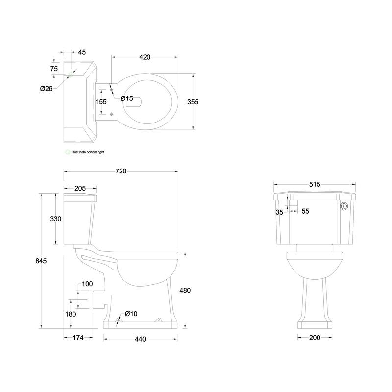 Burlington Regal Close Coupled Toilet with 52cm Push Button Cistern