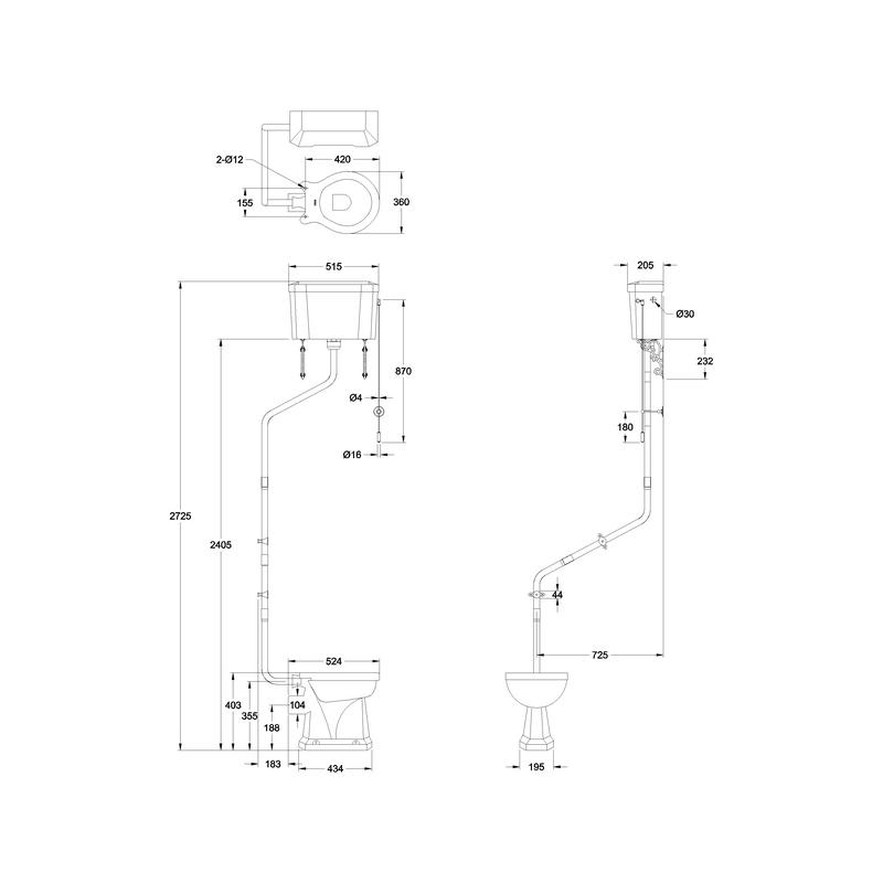 Burlington High-Level Toilet with Angled Flush Pipe Kit