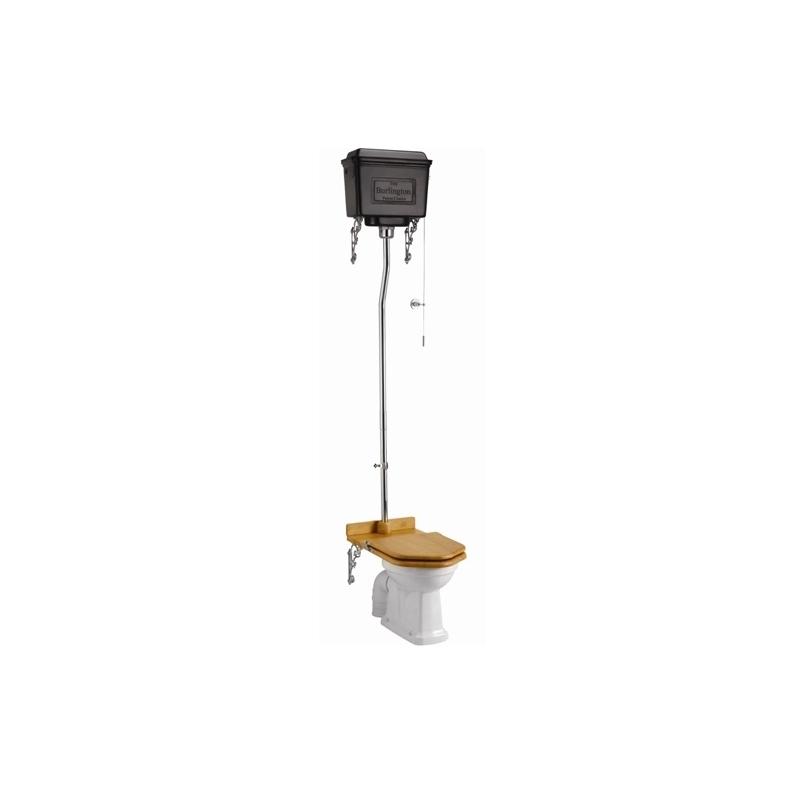 Burlington Standard High Level Toilet with Dual Black Aluminium Cistern