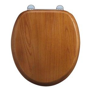 Burlington Bar Hinged Golden Oak Toilet Seat