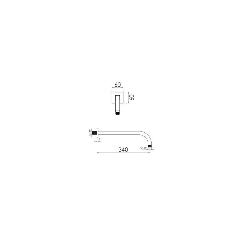 Cifial 340mm Curved Fixed Wall Arm Chrome