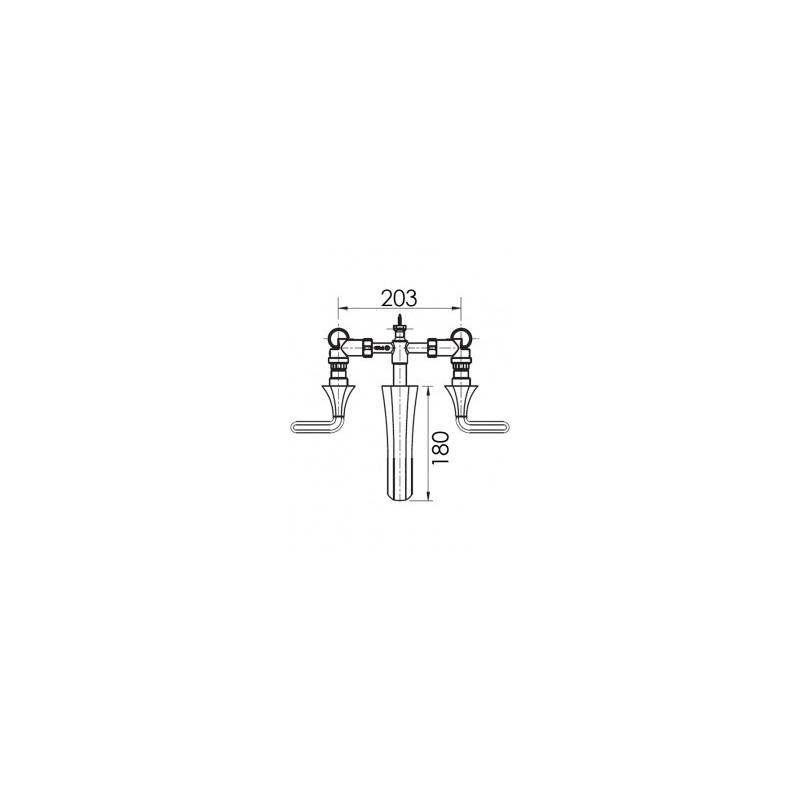 Cifial Hexa Lever 3 Hole Wall Basin Mixer Chrome