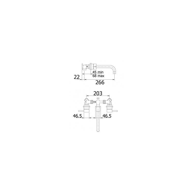 Cifial Technovation 465 3 Hole Wall Basin Mixer Chrome