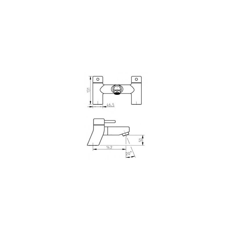Cifial Technovation 35 2 Hole Deck Bath Filler Chrome
