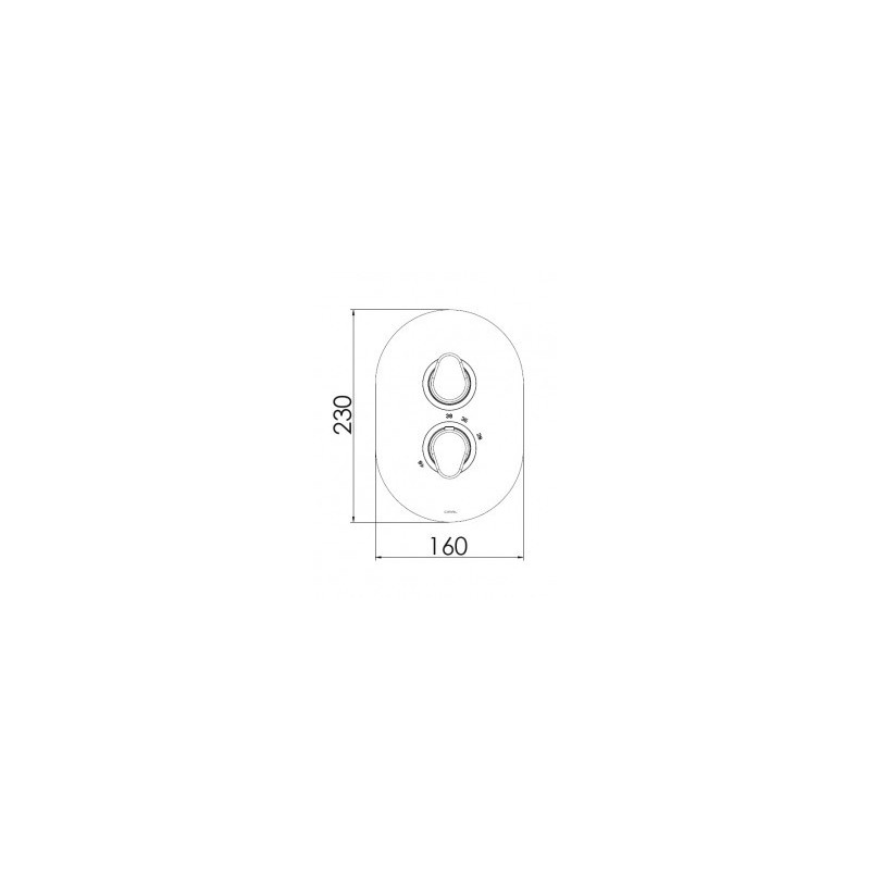 Cifial Black Thermostatic Valve, 2 Outlets