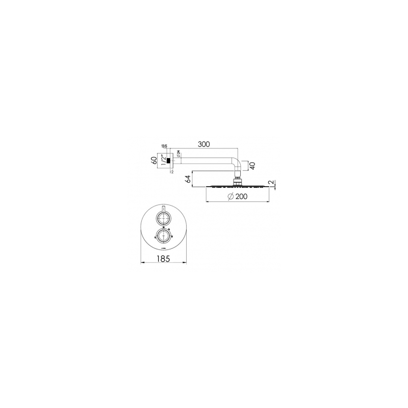 Cifial Technovation 35 Thermostatic Fixed Shower Kit