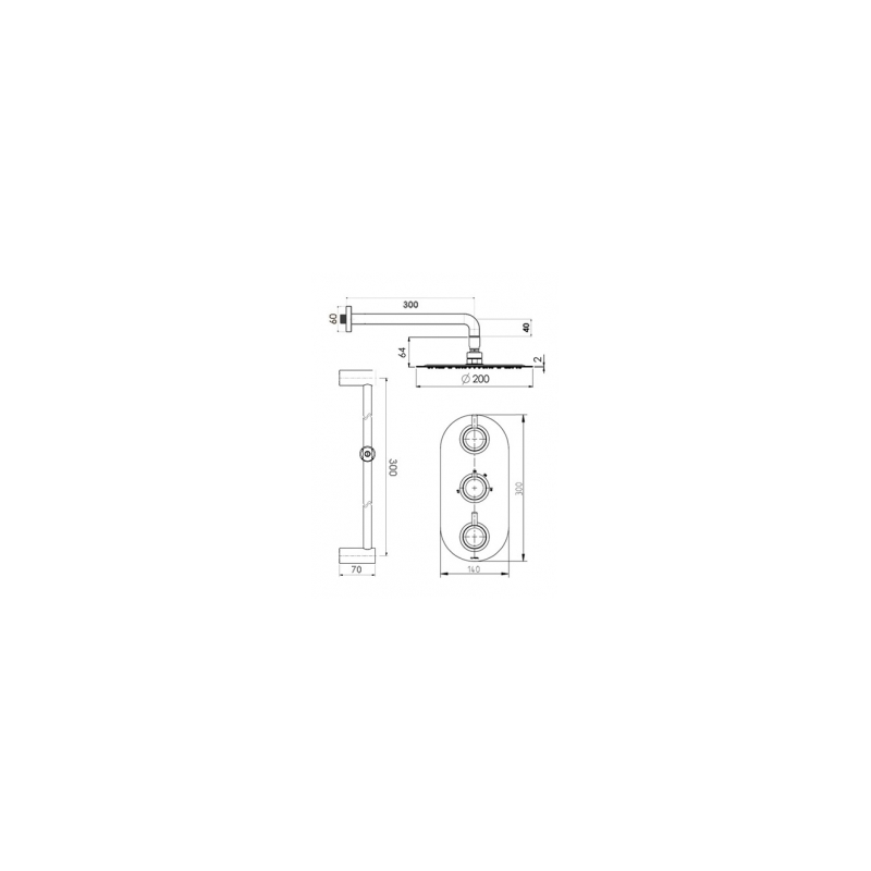 Cifial Technovation 35 Thermostatic Fixed/Flexi Shower Kit