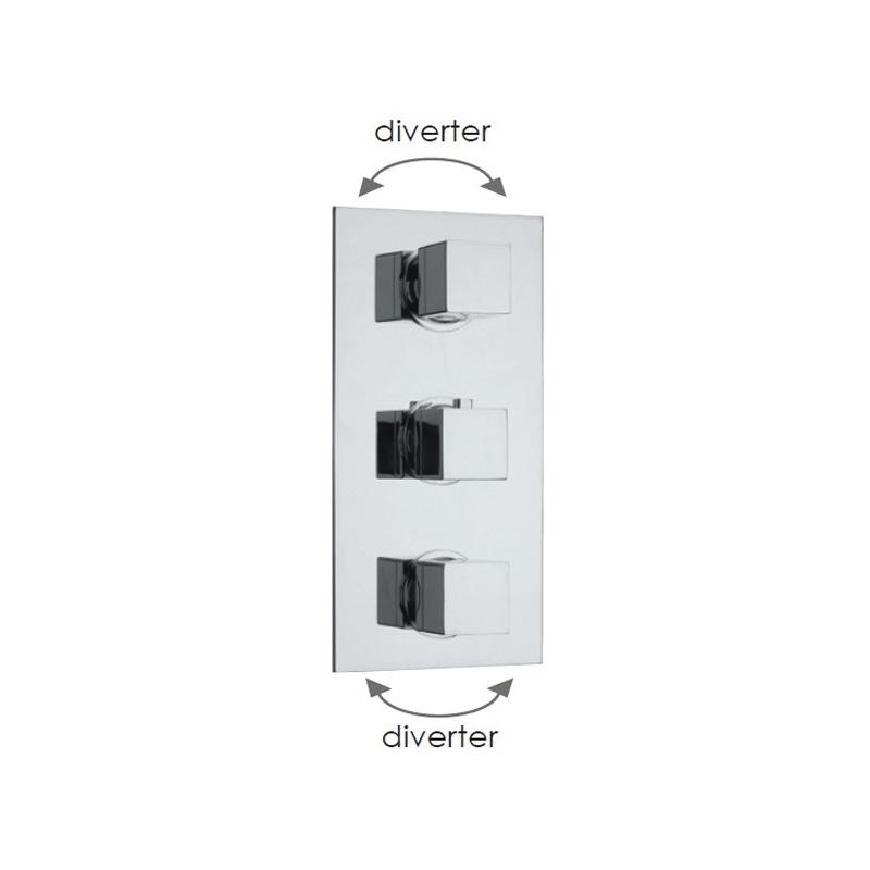 Cifial Quadrado 3 Control Valve with Double Diverter Chrome