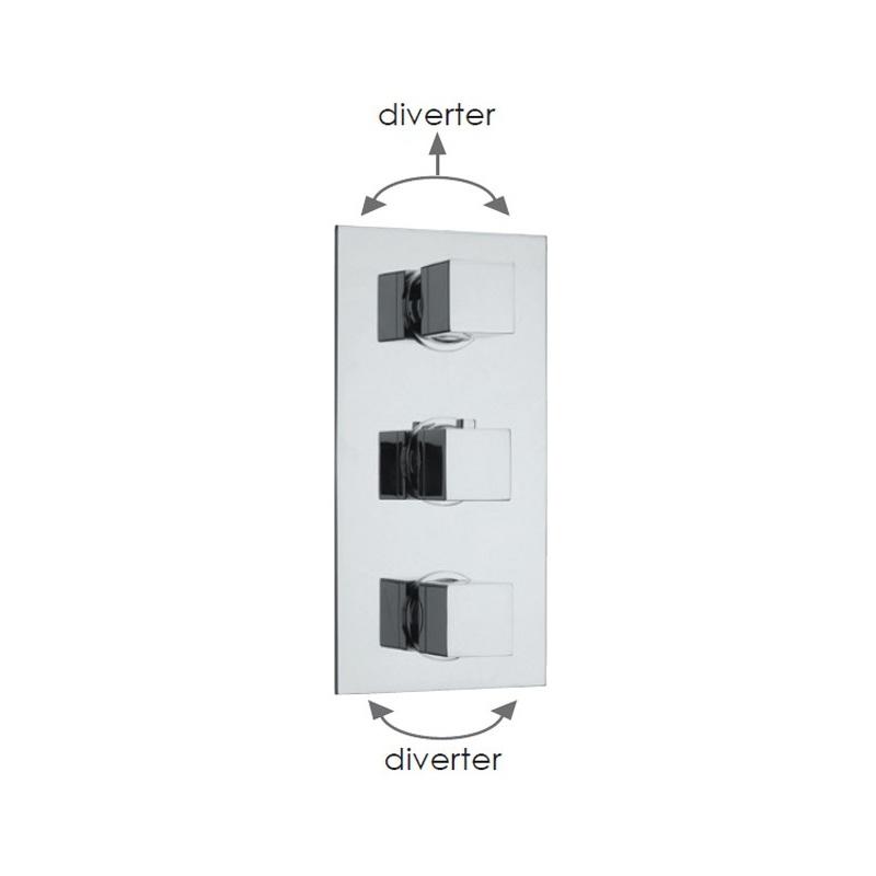 Cifial Quadrado 3 Control Thermostatic Valve (5 Outlets) Chrome