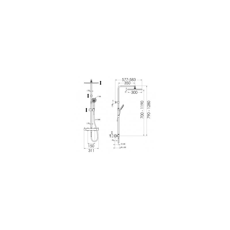 Cifial Techno Thermostatic Shower Column Matt Black