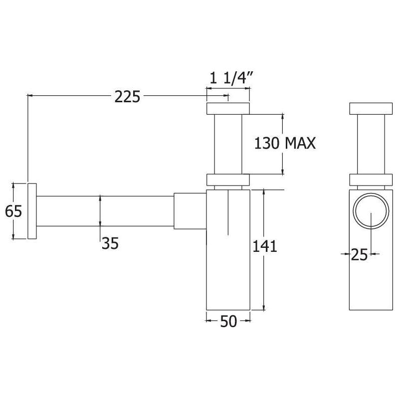"""Deva 1 1/4"""" Bottle Trap with 300mm Wall Extension"""