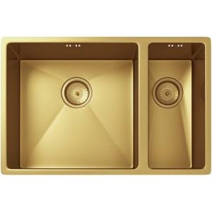 Ellsi Elite 1.5 Bowl Inset/Undermounted Steel Kitchen Sink Gold