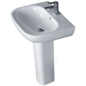 Essential Lily Pedestal Basin Only 550mm 1 Tap Hole White