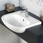 Essential Lily Semi Recessed Basin Only 520mm 1 Tap Hole White