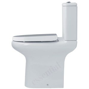 Essential Lily Comfort Height Open Back Pan, Cistern & Soft Close Seat
