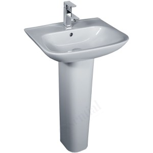 Essential Violet Pedestal Basin Only 520mm 1 Tap Hole White