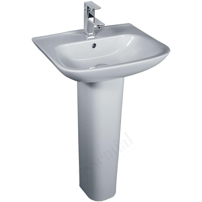Essential Violet Pedestal Basin Only 520mm 1 Tap Hole White