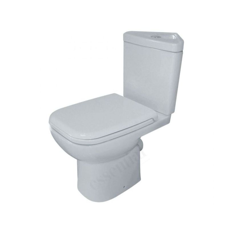 Essential Violet Corner Close Coupled Pan, Cistern & Toilet Seat