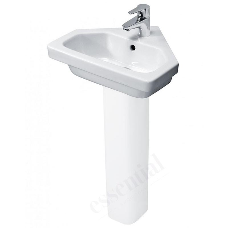 Essential Ivy Corner Pedestal Basin Only 450mm 1 Tap Hole White