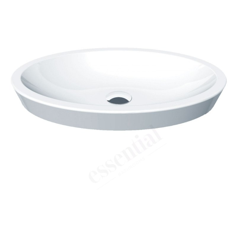 Essential Ivy Vessel Oval Basin Only 580mm 0 Tap Holes White