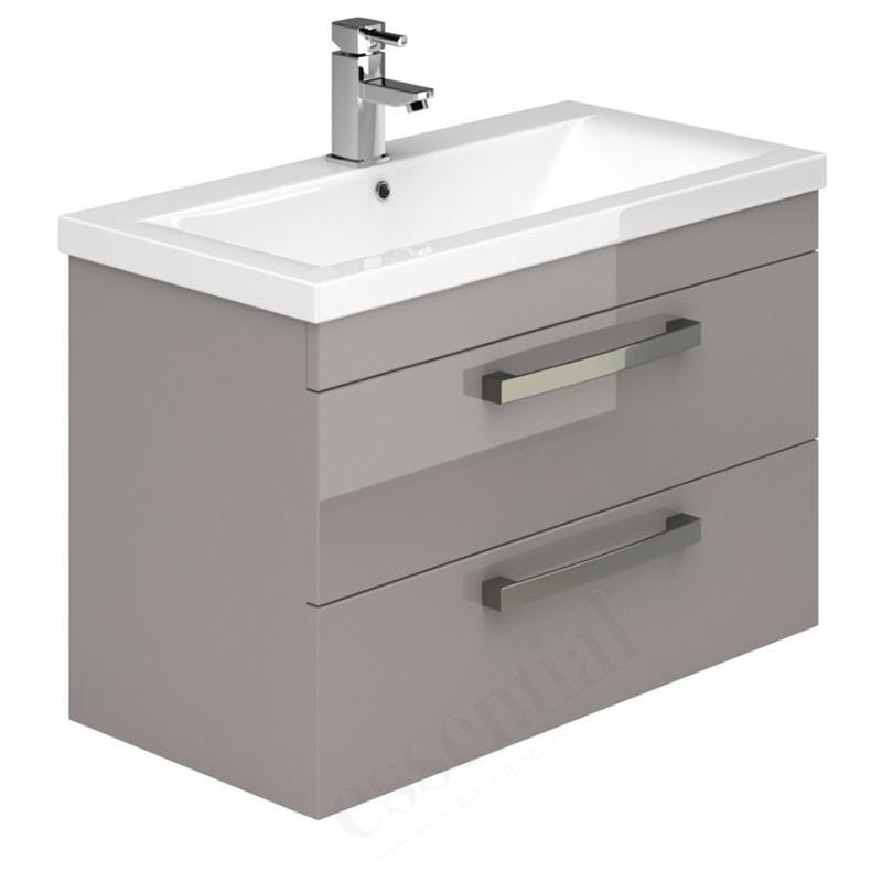 Essential Nevada Washbasin Unit & Basin 2 Drawers 800mm Cashmere