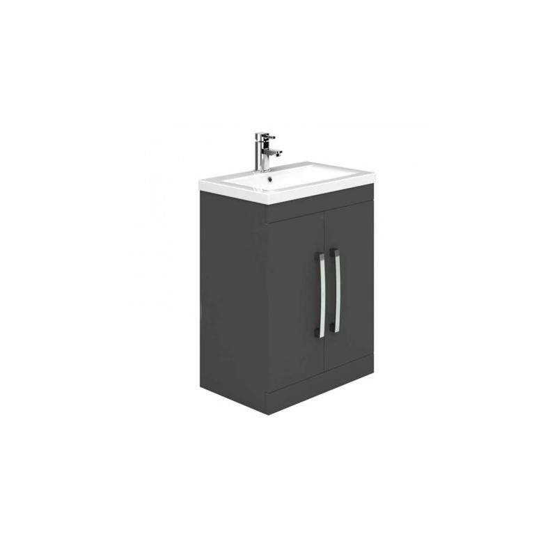 Essential Nevada Floor Unit & Basin 2 Doors 500mm Grey