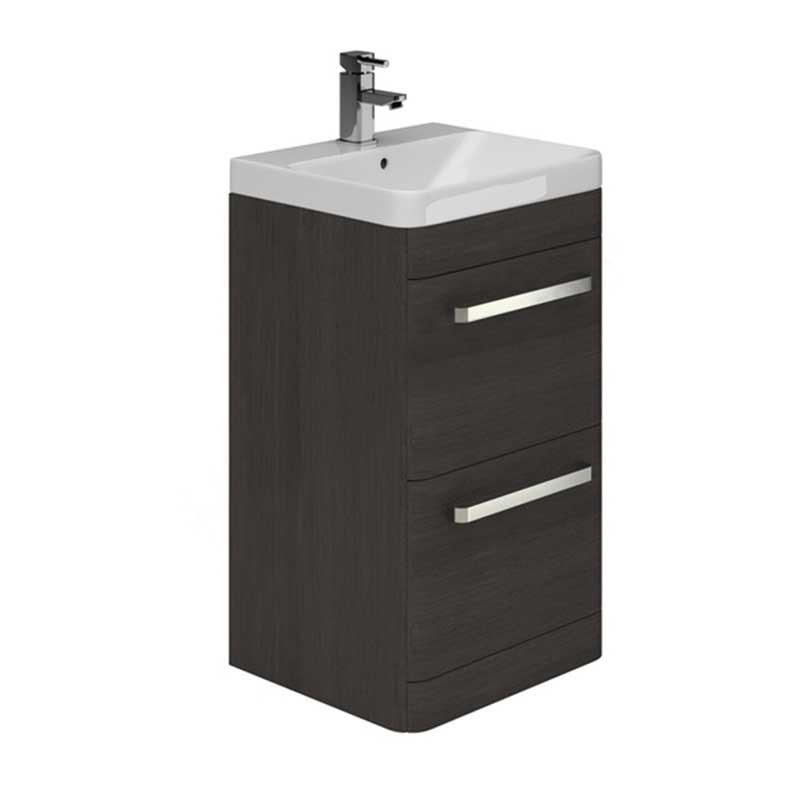 Essential Vermont 500mm Floor Standing 2 Drawer Unit & Basin Dark Grey