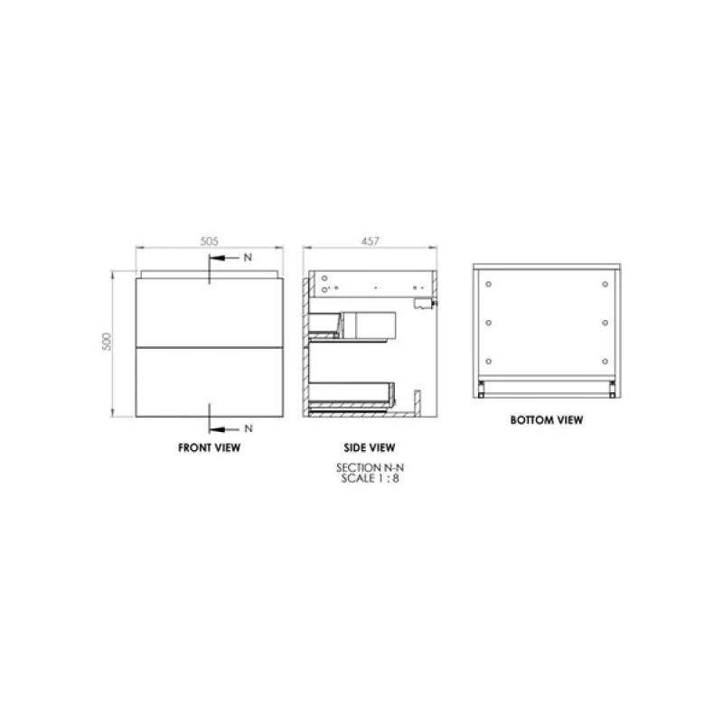 Essential Dakota 500mm Wall Hung Unit & Basin Onyx Grey