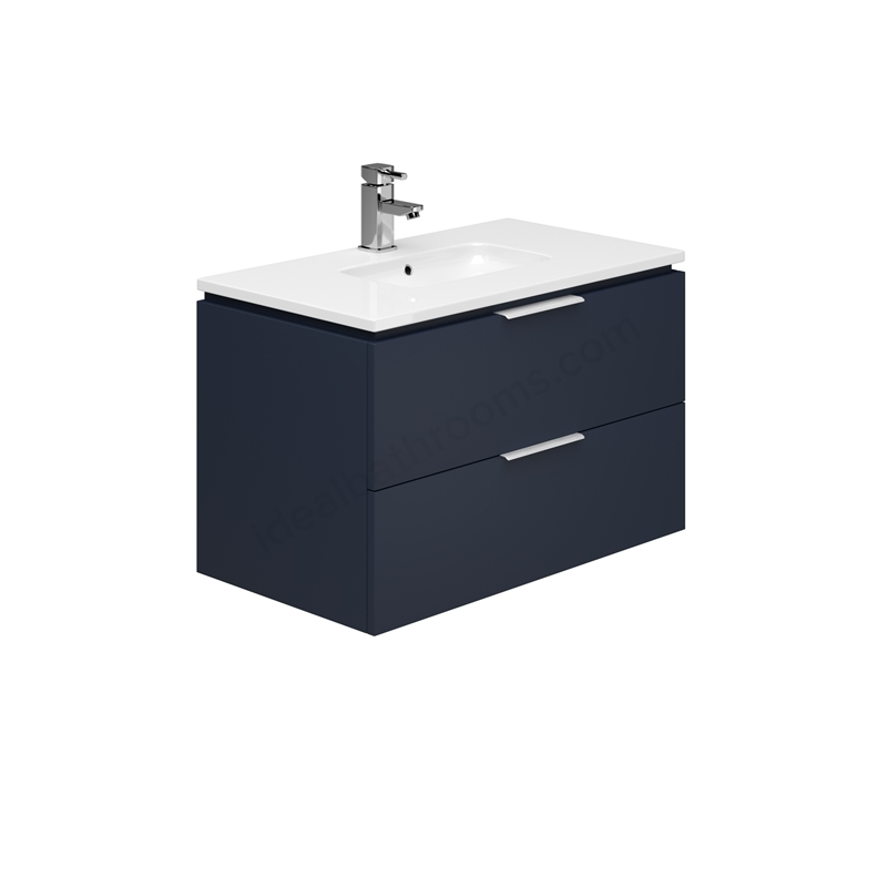 Essential Dakota 800mm 2 Drawer Wall Unit & Basin Marine Blue