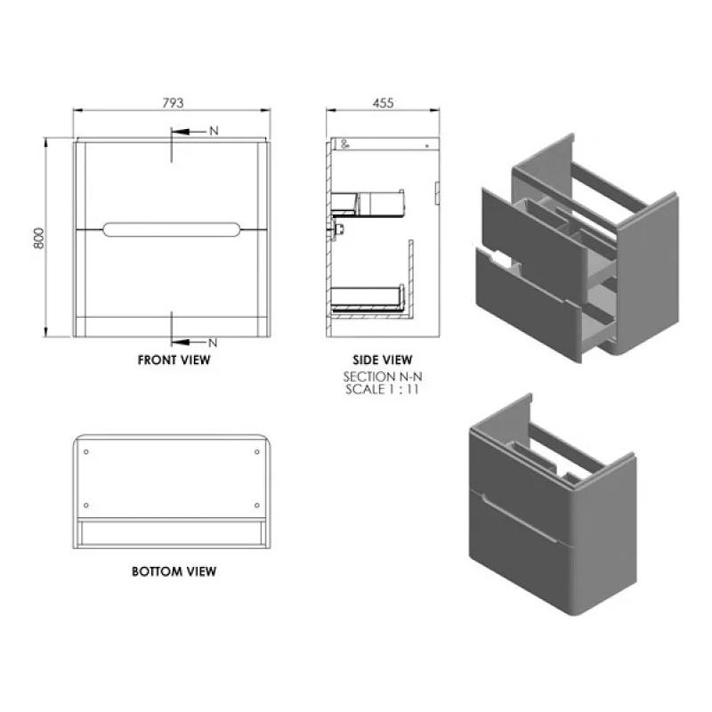 Essential Colorado 800mm Floor Unit & Basin Matt White
