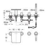 Flova Annecy 5-Piece Bath Shower Mixer with Glass Shelf