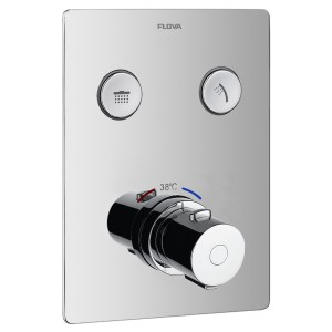 Flova Annecy Concealed Thermostatic GoClick 2 Outlet Trim Square