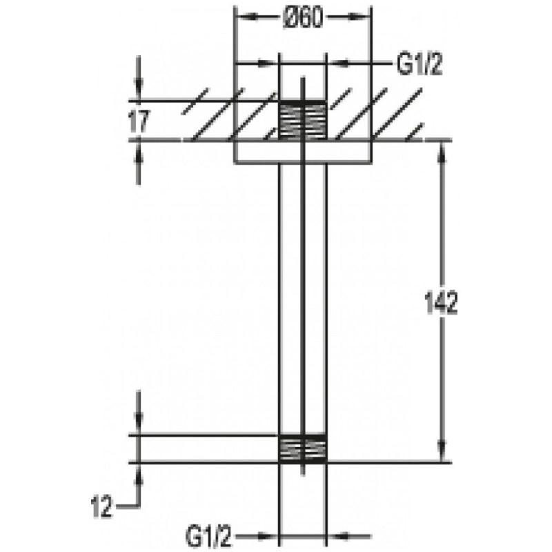 Flova 120mm Ceiling Shower Arm Brushed Nickel