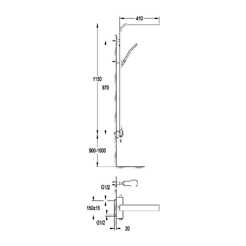 Flova Cascade Shower Column with Manual Mixer & Overhead Shower
